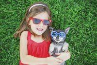 little girl in back yard